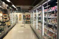 The store is a store chain's pilot project for retrofitting doors to refrigeration equipment.