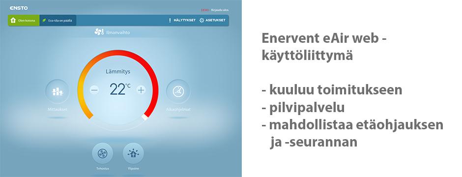 Enervent eAir Web -käyttöliittymä